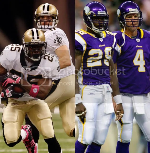 saints drew brees reggie bush vikings brett favre