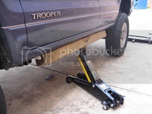 small resolution of you use the front three factory bolts on the rear three holes trooper body jacked up on one side a 4x4 wood block is really handy