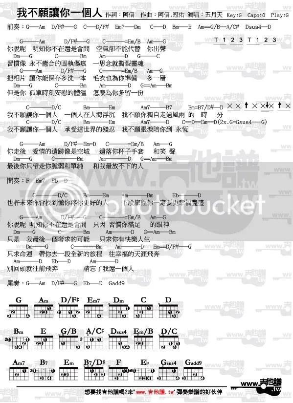 吉他譜-我不願讓你一個人-五月天(節奏指法和弦完整版)(真愛找麻煩片尾曲) - www.吉他譜.tw(唯一清楚標示節奏 ...