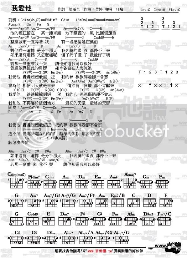 吉他譜-我愛他-丁噹(下一站幸福片頭曲)(節奏指法和弦完整版) - www.吉他譜.tw(唯一清楚標示節奏指法和弦圖之 ...