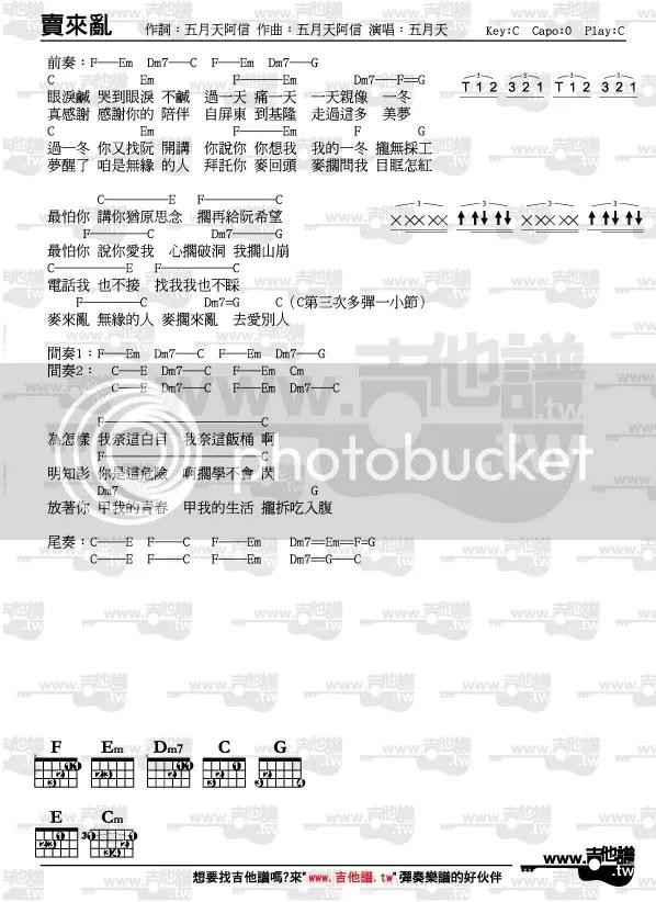 吉他譜-麥來亂-五月天(節奏指法和弦完整版) - www.吉他譜.tw(唯一清楚標示節奏指法和弦圖之吉他譜網站)