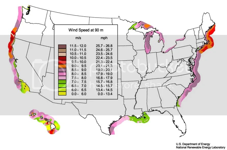 Wind Potential Offshore USA