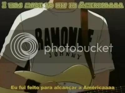 Anime e manga beck com camiseta da banda ramone
