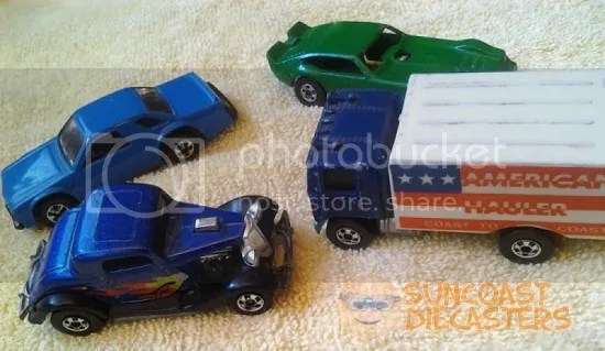 Clockwise from bottom left: 3-Window '34; Front Runnin' Fairmont from the ''Gas Station'' Sto & Go playset; Vega Bomb in green w' blackwalls, from the '83 ''Speed Machines'' series; and American Hauler