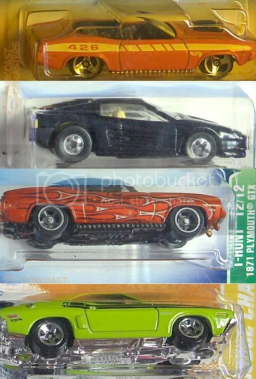 1970 Plymouth Barracuda; Ferrari Testarossa; 1971 Plymouth GTX (Treasure Hunt); '71 Dodge Challenger