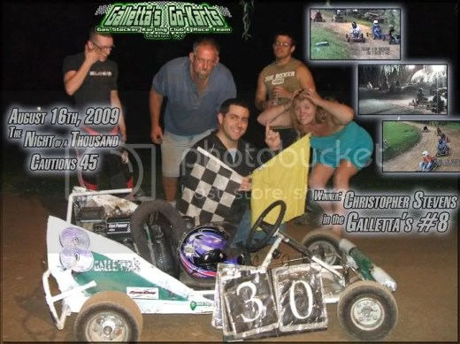 8/16/2009,Winner,Chris Stevens,Galletta's #8,Larry Phillips,Melissa Stevens,Matt Stevens,Ken Lindsley III