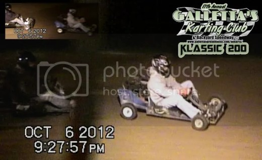However, it seemed as if Brian suddenly lost a lot of speed, as Kyle Reuter out of nowhere caught the #13 and took the lead in the Galletta's Greenhouse #2. Kyle, a highly experienced racer (in Quarter Midgets, Methanol Karts and Galletta Karts alike) is the only visiting driver to win the Galletta's Klassic in the prior 16 year history of the event, usually tries to get up front and stay there, knowing just how hard it is to pass at Galletta's with the karts all being so close. Here he is being chased by Randy Platt in his Platt-Num Murder #187 kart, who also got Brian before the #13 dropped out (he then got into his backup, the #28, but after a couple of spins in it, parked both his karts for the night). Reuter then led the next 74 laps with little to no challenges from the field, although Platt stayed with him most of the time.