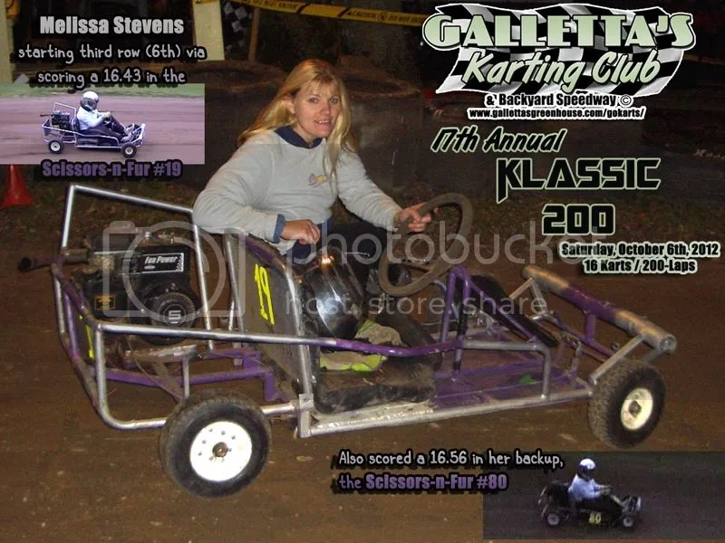 Melissa Stevens before the 17th Annual Oswego 200-Lap Karting Klassic Galletta's Greenhouse Karting Speedway 10/6/2012.