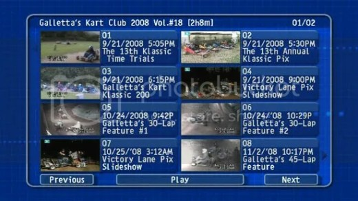 Oswego Dirt Karting 2008 Volume 18 DVD Menu