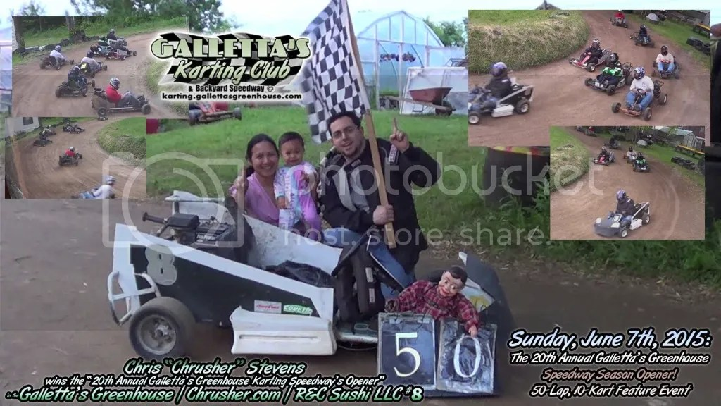 """Chris Stevens poses with his wife Rungnapha """"Aou"""" and their daughter Faith Marie after the 20th Annual Galletta's Karting Opener! photo 2015-06-07-08-40pm-chris-wins-opener-19020"""