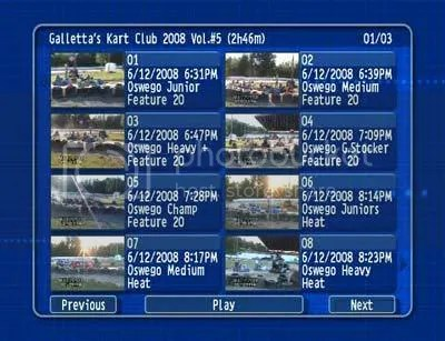 Oswego Dirt Karting 2008 Volume 5 menu 1