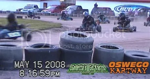 Chris snips Melfi at the line for 3rd on 5/15/2008 at Oswego Kartway.