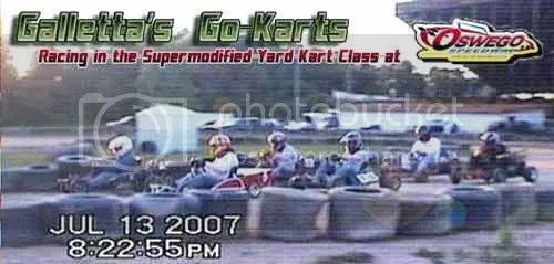 3 Galletta's Go-Karts at Oswego Speedway's Supermodified Yard Kart Class on 7/13/2007!