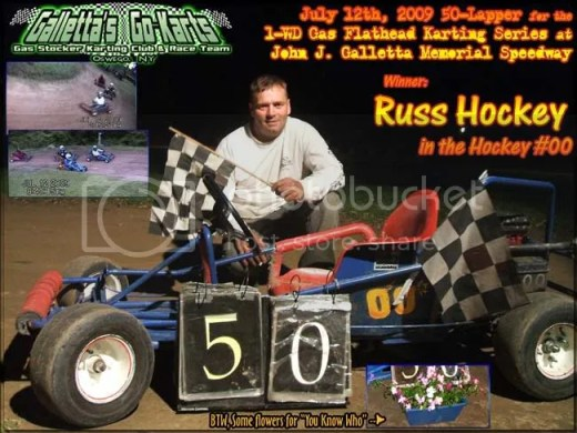 Russ Hockey wins the 50-lap feature on 7/12/2009 at Galletta's Raceway