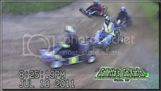 Late leader Joe Sereno had a half-track lead for a large percentage of the race (and earned many leader bonus points from that lead), as Melissa Stevens held off the rest of the field in her #80 kart. Here she is seen holding off Justin Galletta (#7), Chris Stevens (#4) and Matt Stevens (#3).