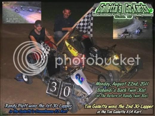 """Randy Platt & Tim Galletta won the """"Bobandi's Back Twin 30s""""!"""