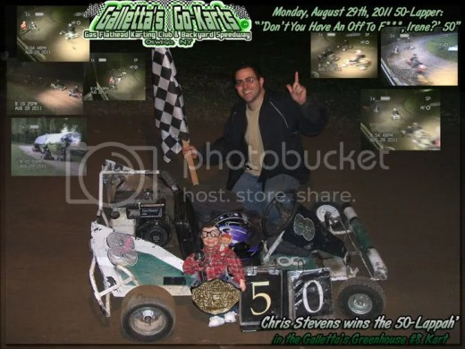 "Chris Stevens wins the ""F*** OFF IRENE 50"" in the Galletta's #8 kart!"