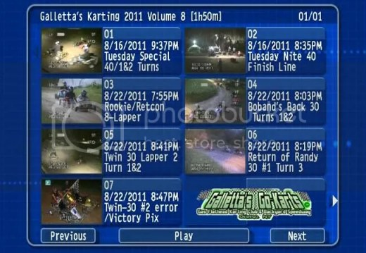 DVD Menu - Oswego Dirt Cartting - Galletta's Greenhouse 2011 Volume 8