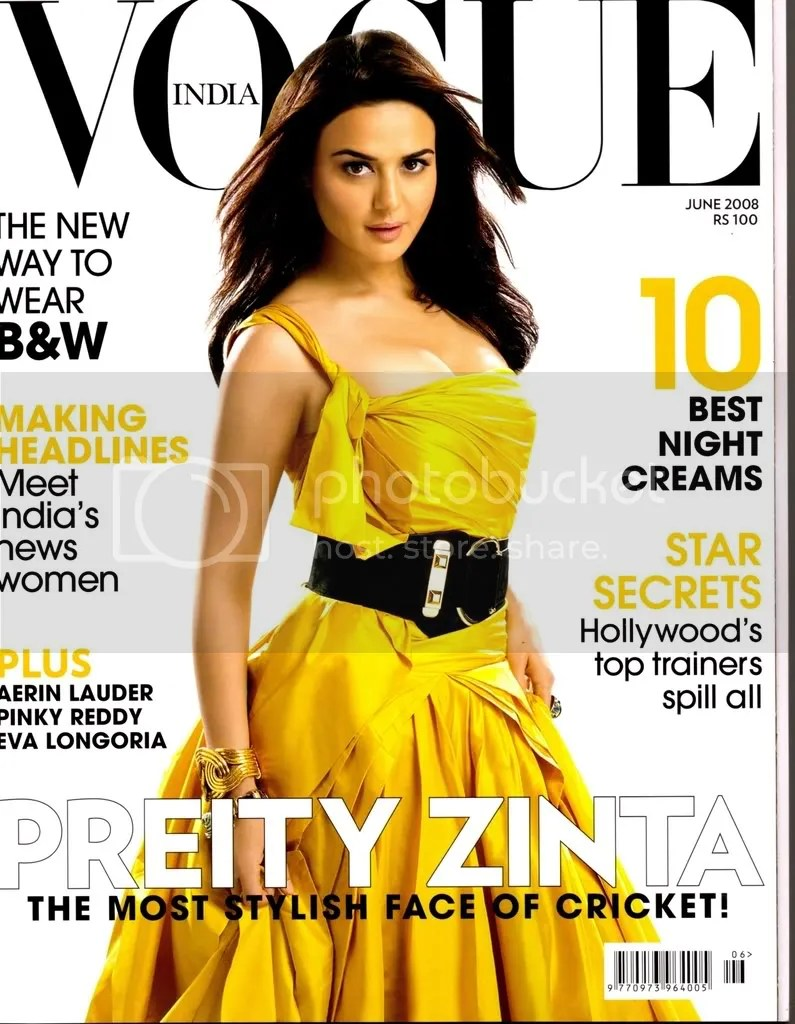 Preity Zinta on Vogue Cover June 2008