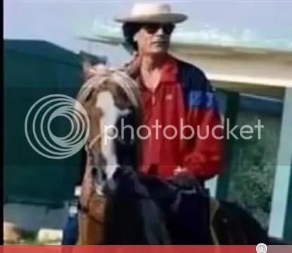 Gadhafi on horseback