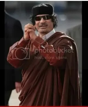 Gadhafi red & Brown white collar