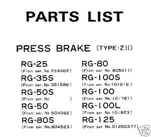 AMADA-RG-25-THRU-RG-125-PRESS-BRAKE-PARTS-MANUAL