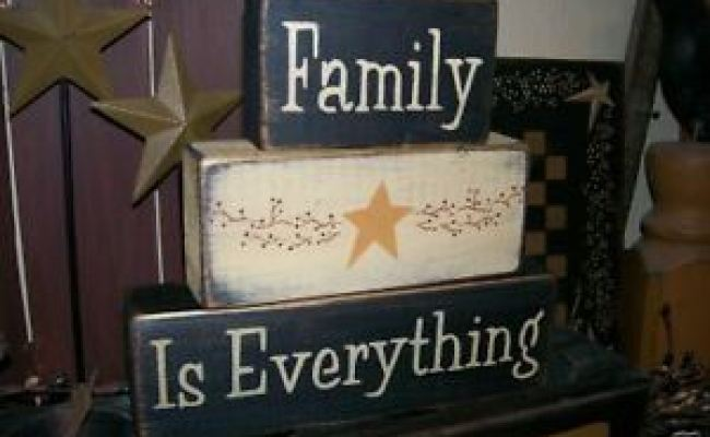 Primitive Block Sign Family Is Everything Star Berries Ebay