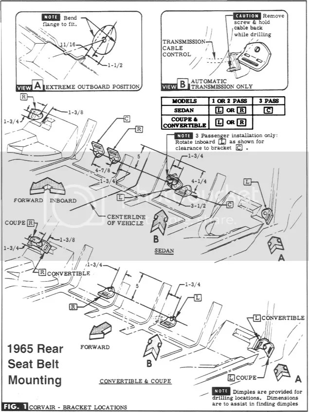 How to install seat belts on a 1963 Monza convertible?