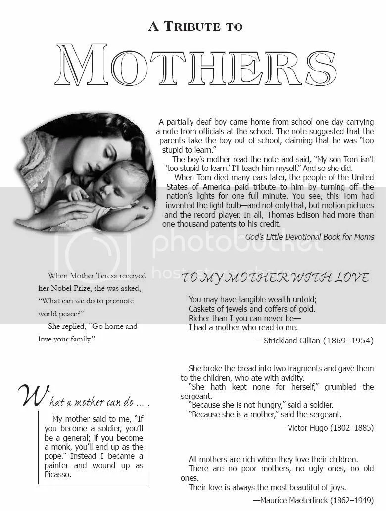 Words Grouped Together: A Tribute to Mothers