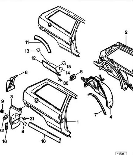 [ Citroën AX 1.1 ess an 1993 ] Vue éclaté carroserie