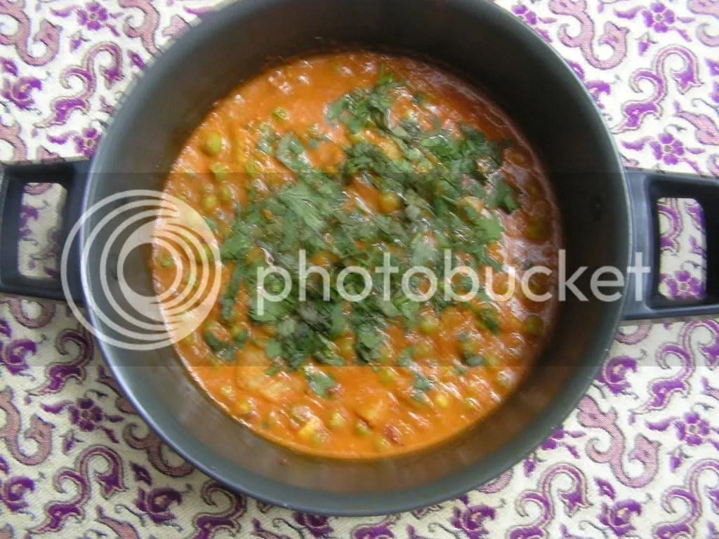 Ready to serve dish Alu Muttar masala