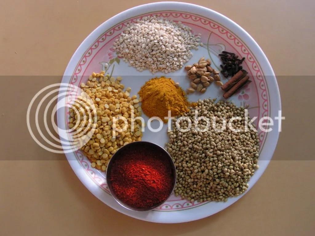 Ingredients of Vangi bhath powder