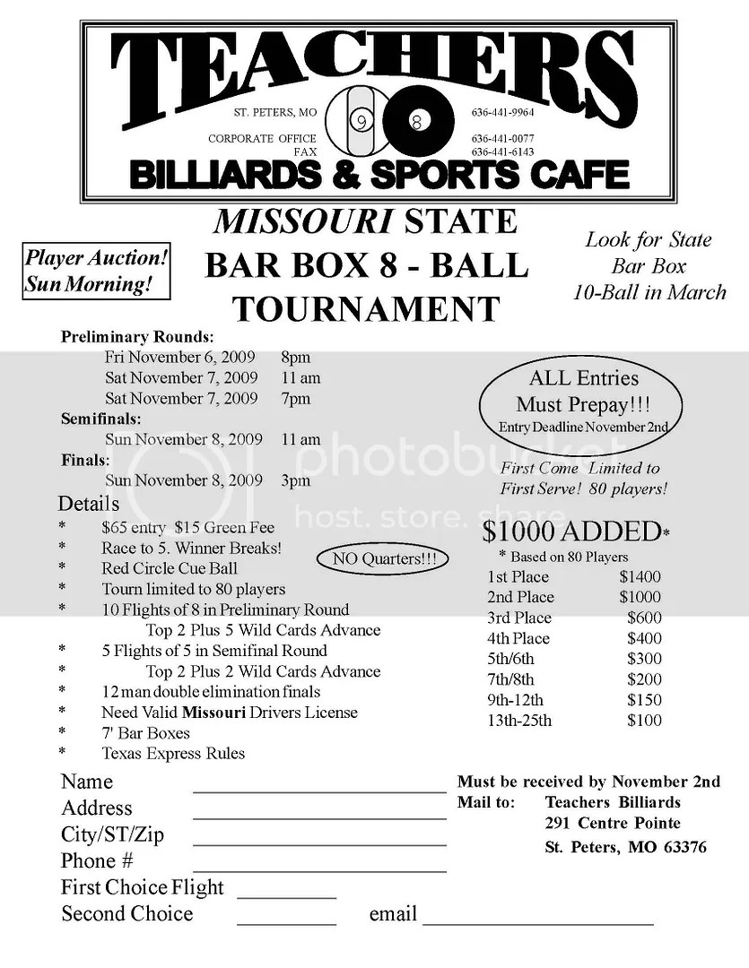 Missouri State Bar Box Tournament Flyer Graphics, Pictures