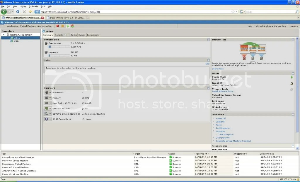 vmware web interface