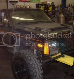 hello my name is john i have a 1993 chop top xj 4 5in lift 33in super swamper tsl custom tube bumpers and full rollcage fab d by myself here are a few  [ 1024 x 768 Pixel ]