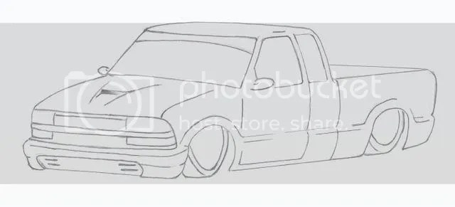 Custom Chevy S10 Drawing Coloring Pages