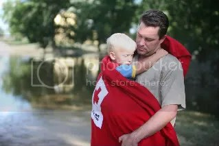 Father and Son after flood