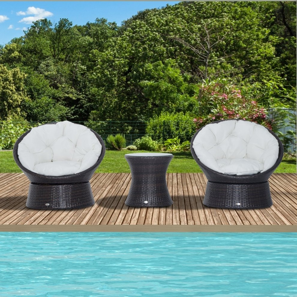 Rattan Egg Chair Set Outsunny 3pc Furniture Set Rattan Swivel Chairs Bistro Table