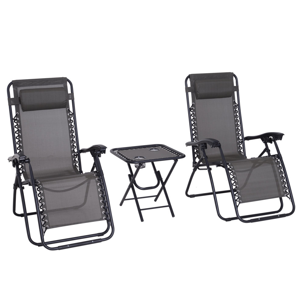Zero Gravity Chair Recliner Outsunny 3pcs Folding Zero Gravity Chairs Sun Lounger Table Set W Cup Holders Reclining Garden Yard Pool Grey