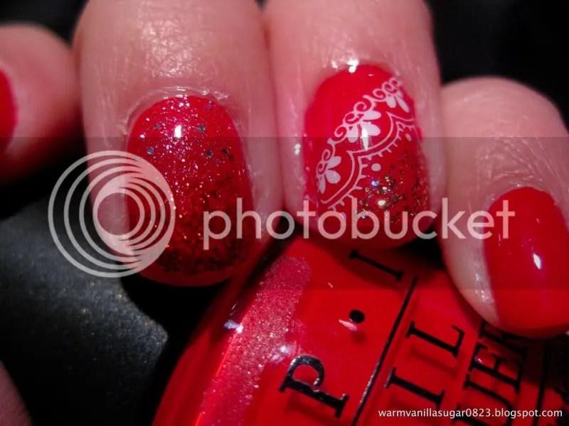 OPI Color So Hot It Berns,Valentine's Day manicure,Konad,warmvanillasugar0823