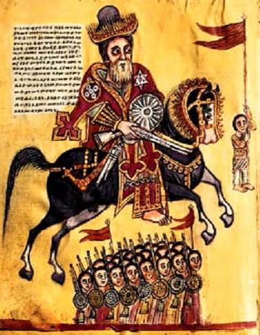 Saint Elesbaan, roi d'Ethiopie, sur le commandement de l'empereur Justin, va porter la guerre contre l'usurpateur Danaan et libérer ainsi les Chrétiens yéménites persécutés par cette bête féroce. Chronique historique. Manuscrit du XIXe.