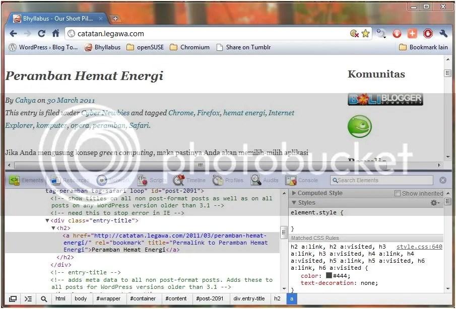 Alat Pengembang Google Chrome 10