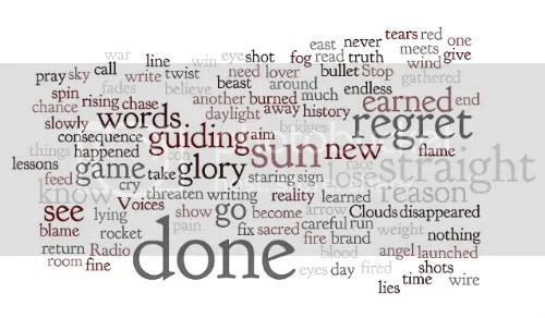 A Word Cloud of the lyrics to What's Done Is Done by David Archer