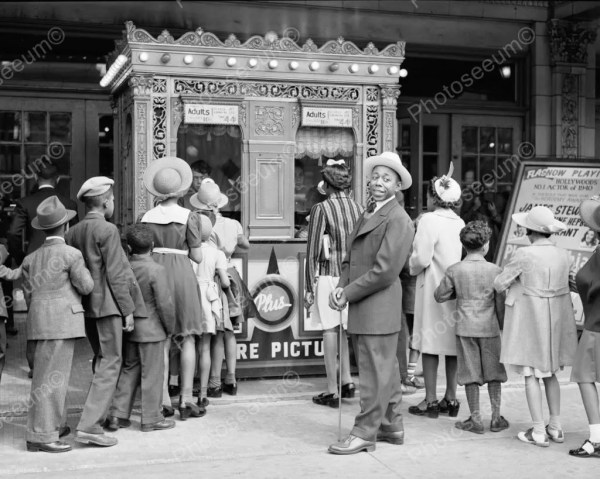 Movie Theatre Ticket Booth Line 1900s 8x10 Reprint Of