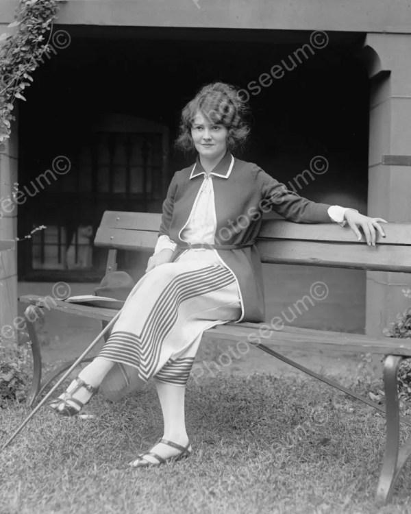 Woman Sitting Park Bench 1922 Vintage 8x10 Reprint Of