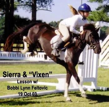 Vixen & Sierra - riding lesson in Parkton, NC - 2003