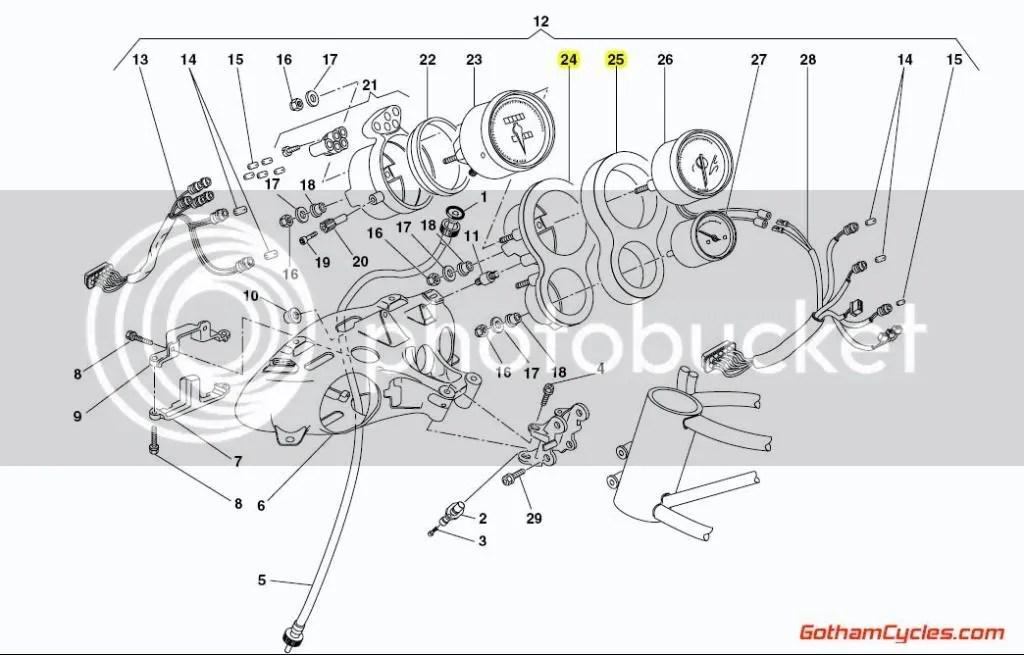 Ducati Tachometer / Temp Guage Foam Surround: 748-998