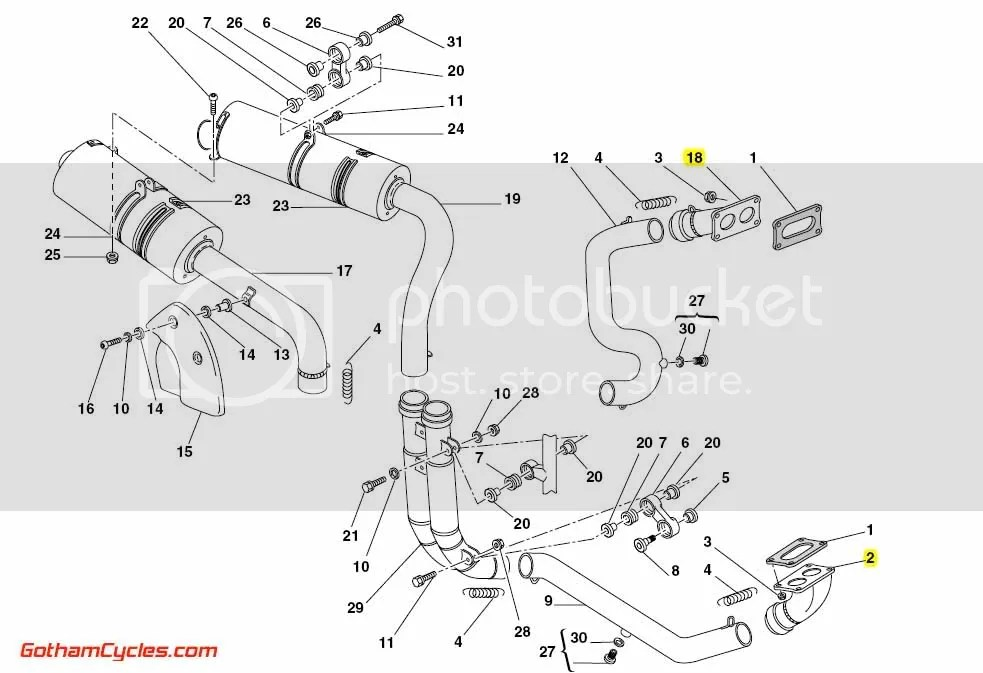 Ducati Exhaust Pipe Header Manifolds: 998 SUPERBIKE 998