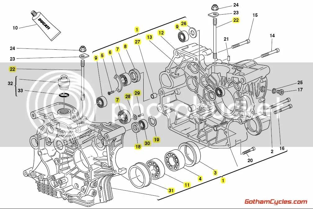 Ducati Crankcases: 748/916 SUPERBIKE 748 748S 916 22520183D