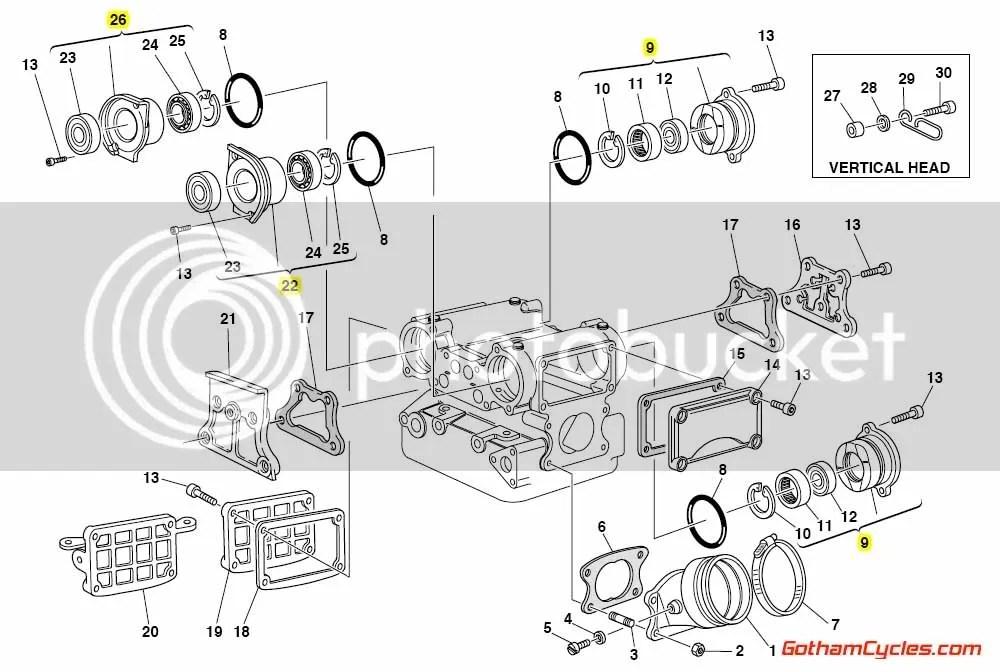 Ducati Camshaft Caps and Bearings Grey: 748-996 SUPERBIKE